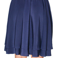 Navy Tiered A-Line Skirt