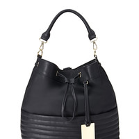 Faux Leather Ribbed Backpack