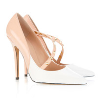 Shoes : 'Thea' Nude and White Studded Heels