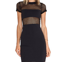 Donna Mizani Banded Fitted Mini Dress in Black