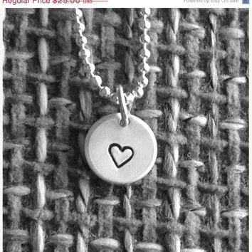 Vac Sale will ship 8/6 Small Heart Necklace, Sterling Silver Jewelry, Small Heart Pendant, Hand Stamped Jewelry, Small Heart Charm, Charm Ne