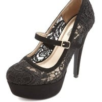 Lace Mary Jane Platform Pumps by Charlotte Russe - Black