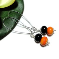 Earrings With Black and Orange Handmade Lampwork Glass Beads Kidney