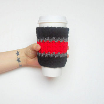 Atlanta Team Colors Coffee Cozy in Black, Red and Silver Grey, ready to ship.