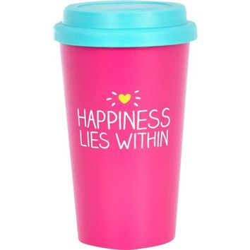 Pink happiness lies within travel mug - novelty - gifts - women