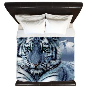 Blue Maltese Tiger King Duvet