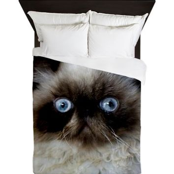 Cat with Blue Eyes Queen Duvet