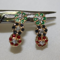 Sterling Gemstone Earrings Ruby Sapphire Diamond Emerald 1980s Fine Jewelry