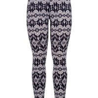 Navy lace print legging