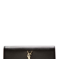 Saint Laurent Black Pebbled Leather Monogrammed Clutch