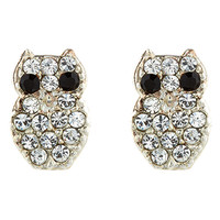 Sterling Silver Nolita Owl Stud Earrings | Clear | Accessorize