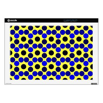 "Seeing Dots Black and Blue 17"" Laptop Skin"