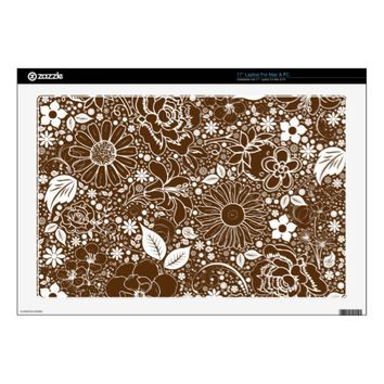 Botanical Beauties Brown 17inch Laptop Skin