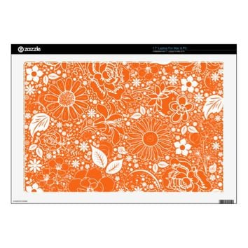 Botanical Beauties Orange 17inch Laptop Decal