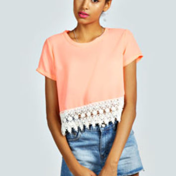 Wendy Woven Shell Top With Crochet Trim