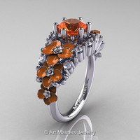 Nature Classic 14K White Gold 1.0 Ct Orange Sapphire Diamond Orange Orchid Engagement Ring R604-14KWGDPOS