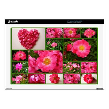 Pink Supreme Roses Collage Laptop Skin