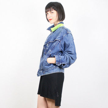 Vintage Levis Denim Jacket Jean Jacket Blue Denim Bomber Jacket Neon Green Tab Neon Collar Acid Wash New Wave 1980s 80s Coat Jacket L Large