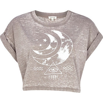 Light brown burnout moon print crop t-shirt - print t-shirts / tanks - t shirts / tanks / sweats - women