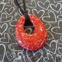 Cherry Red and White Teardrop Necklace, Glass Donut - Shashi - 4740 - 4