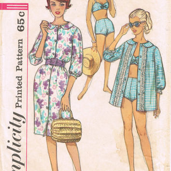 Simplicity 3960 - Vintage 1960s Sewing Pattern - Junior And Misses' Two-Piece Bathing Suit, Beach Shirt And Dress
