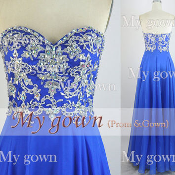 2014 Prom Dress,Straps Lace Crystal Chiffon Prom Dress,Wedding Dress,Evening Gown,Formal Dress,Party Dress,Evening Dress,Homecoming Dress