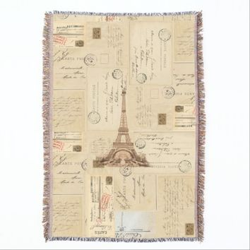 Paris French Vintage Postcards Throw Blanket