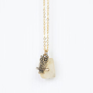 Owl Necklace on Raw Citrine Gemstone Pendant, Yellow Stone, November Birthstone, Owl Jewelry