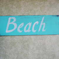Beach sign painted sign blue by kpdreams on Etsy