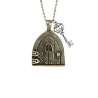 LOVEsick Burnished Gold Cottage Door Key Necklace