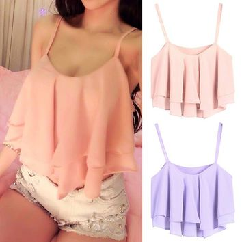 LookbookStore Summer Fashion Ruffled Layers Polyester Camisole Women's Crop Top