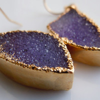 Druzy Earrings in Plum Purple by 443Jewelry on Etsy