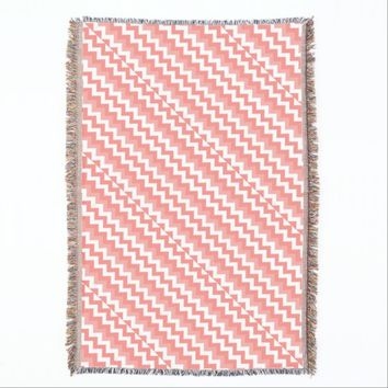 Coral Chevron Throw Blanket