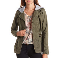 Hooded Drawstring Anorak Jacket by Charlotte Russe - Olive
