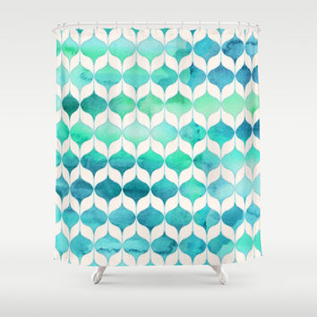 Ocean Rhythms and Mermaid's Tails Shower Curtain by micklyn | Society6