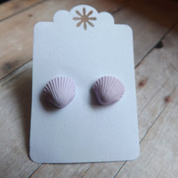 Tiny Pastel Purple Seashell Earrings Lilac Shell Studs Summer Inspired Nautical Earrings Under 20