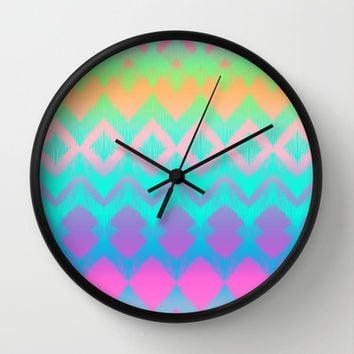 Rainbow Ikat Wall Clock by micklyn  Society6