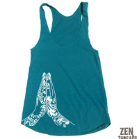 Womens NAMASTE american apparel Tri-Blend Racerback Tank Top S M L (10 Color Options)