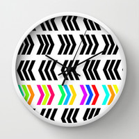 Rainbow Pop Zig Zag Wall Clock by Lisa Argyropoulos | Society6