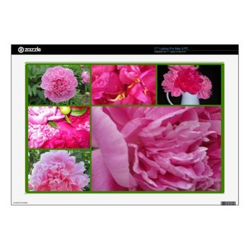 Pink Peony Collage Vinyl Laptop Skin