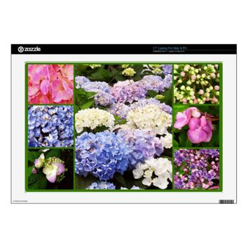 Hydrangea Flowers Collage Laptop Skin