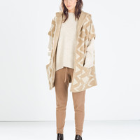 JACQUARD HOODED THREE QUARTER LENGTH COAT
