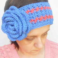 Crochet Ear Warmer Headband with Large Rose in Medium Blue with Tangerine Stripes, ready to ship.