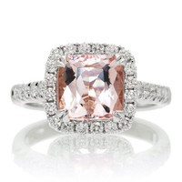 18K Cushion Cut Morganite Diamond Halo Lotus Basket Solitaire Gemstone Engagement Anniversary Ring