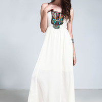 Ivory Beaded Gauze Bohemian Maxi Dress