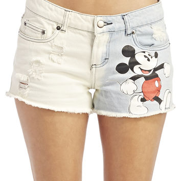 Dip-Dyed Mickey Mouse Denim Shorts  Wet Seal