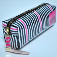 Victoria's Secret Striped Pink White Black Cosmetic Case Makeup Bag Brand New Limited Edition