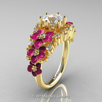 Nature Classic 18K Yellow Gold 1.0 Ct White Sapphire Diamond Pink Orchid Engagement Ring R604-18KYGDPWS