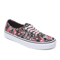 Vans Authentic Black Multi Floral Sneakers - Womens Shoes - Black -