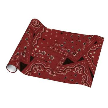 Western Theme Barn Red Bandana Wrapping Paper